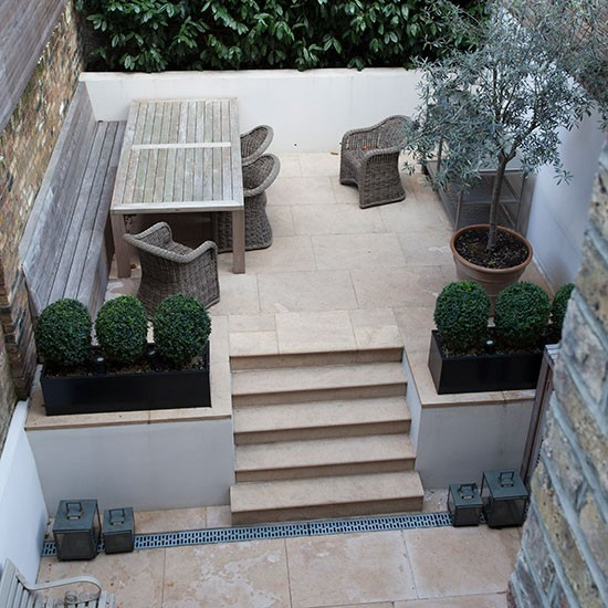 Limestone Terrace Garden Decorating Ideas