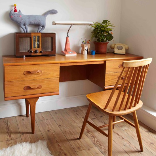 Compact retro desk | home office ideas | PHOTO GALLERY | Style at Home | Housetohome