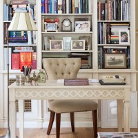 Traditional book-lined home office