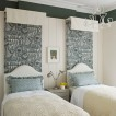 Green and Ivory bedroom with patterned fabric 