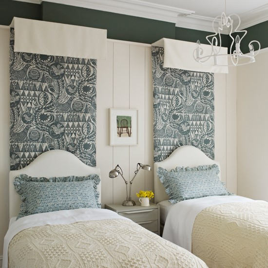 Green and ivory bedroom with patterned fabric bedroom for Dark green bedroom ideas