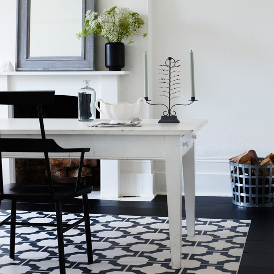 with bold flooring dining room decorating ideas