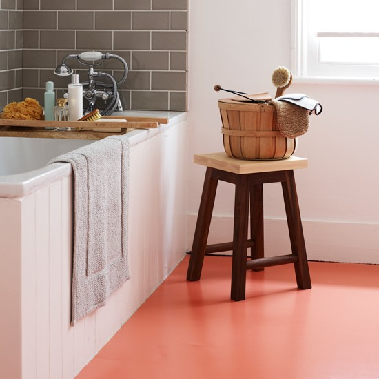 White bathroom with orange vinyl flooring bathroom for Vinyl flooring bathroom