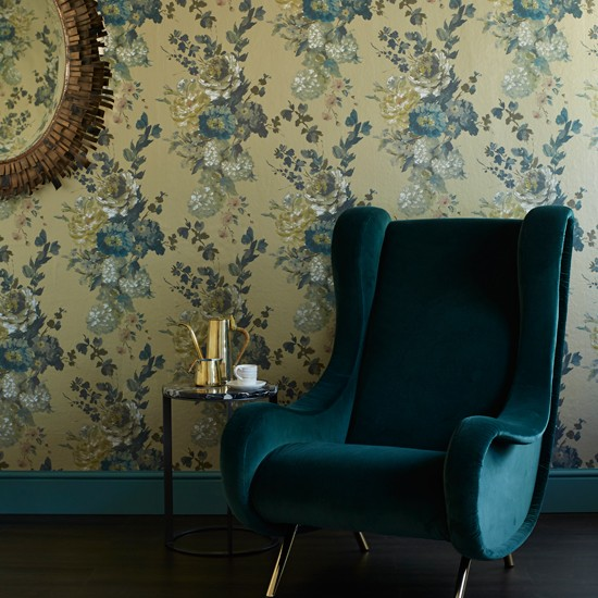 Teal and gold living room living room decorating ideas for Teal wallpaper living room