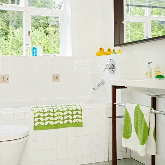 Cool Green And White Tiles Below Dado In Modern White Bathroom With Built