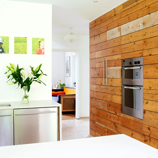 with wood panelled wall kitchen decorating ideas