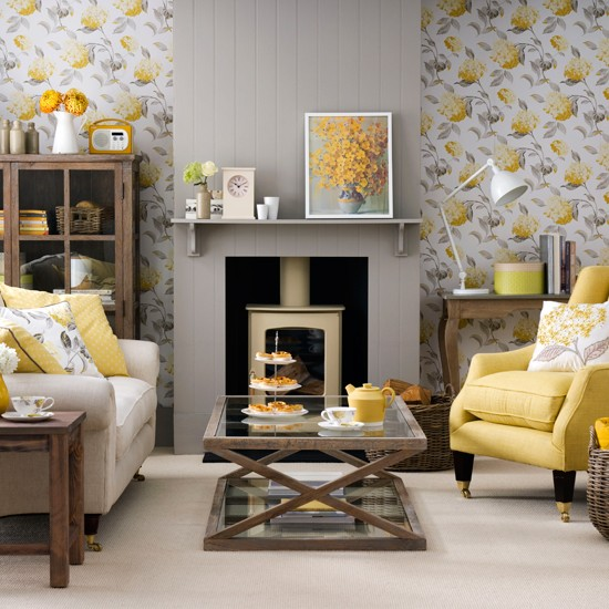 Grey living room with yellow accents
