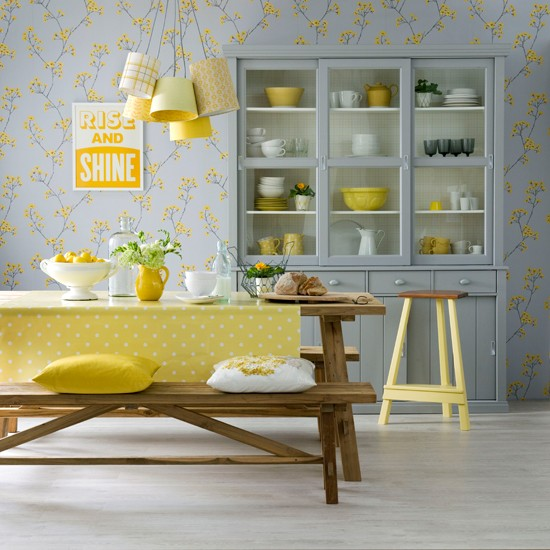 Lemon and dove grey dining room dining room decorating for Dining room interior design ideas uk