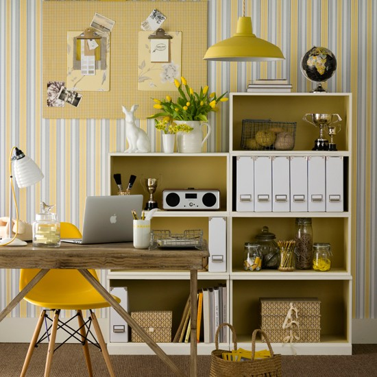 Neutral Home Office With Yellow Accents Home Office Decorating Ideas