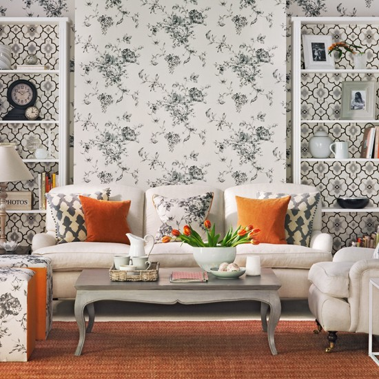 Monochrome and orange living room living room decorating for Monochrome design ideas