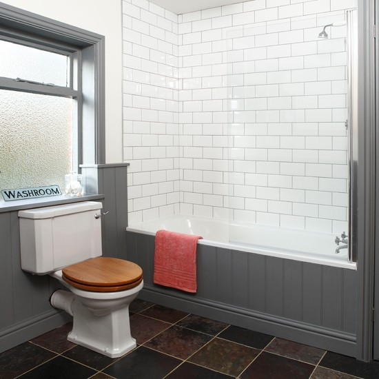 Grey and white tiled bathroom  Bathroom decorating  housetohome.co ...