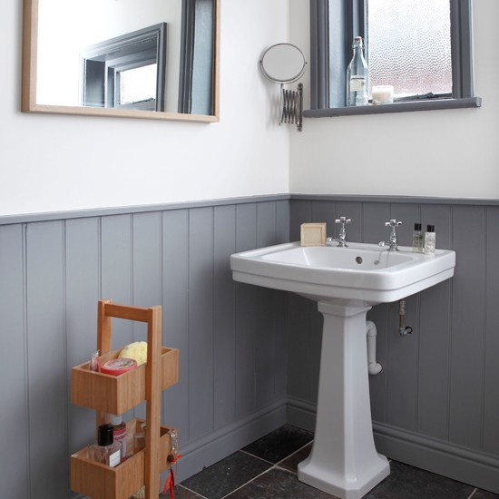 grey and white panelled bathroom bathroom decorating