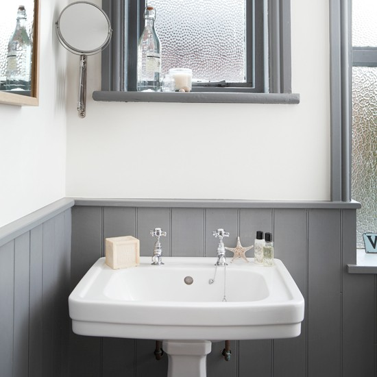 White and grey bathroom with traditional basin bathroom for Bathroom designs gray