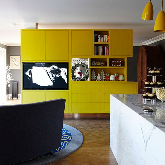 Yellow and marble kitchen-diner   Kitchen-diner ideas