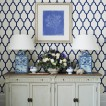 Blue and white dining room sideboard
