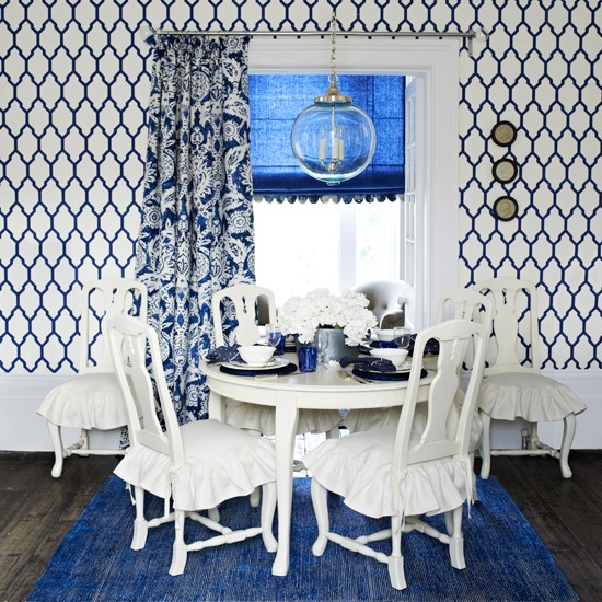 Blue And White Dining Room With Geometric Wallpaper Blue