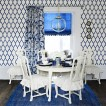 Blue and white patterned dining room