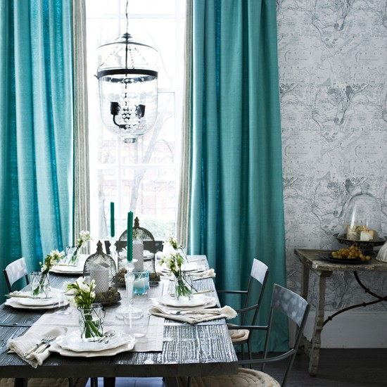 Grey tones dining room with turquoise curtains dining - Turquoise curtains for living room ...