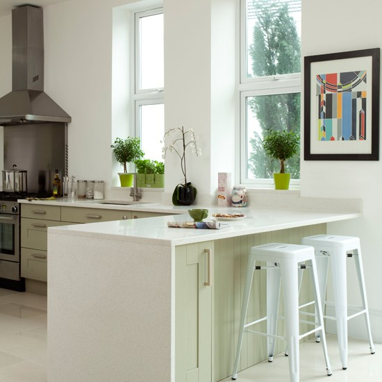 Green Kitchen Units Uk: White And Pale Green Kitchen Peninsula