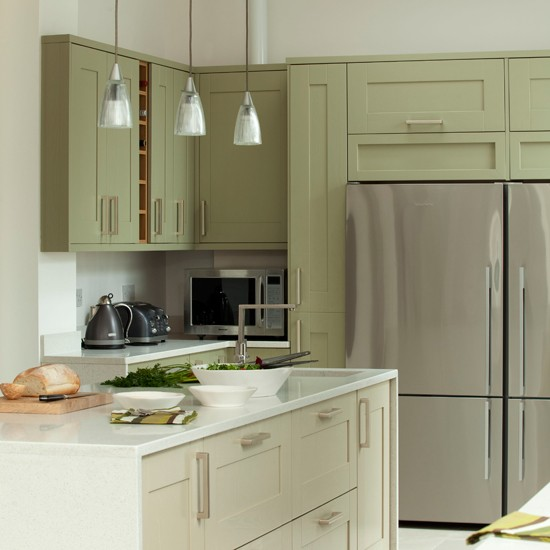 Green And Gray Kitchen: Green And White Kitchen With Fridge-freezer