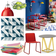 Bold and colourful geometric dining room
