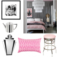 Black white and pink bedroom scheme