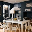 Dramatic dining room with blackboard wall