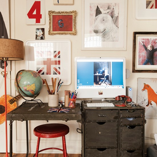 fun and eclectic home office home office decorating ForFun Office Decorating Ideas