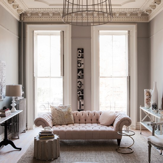 Pale Pink And Muted Grey Living Room