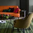 Orange and moss green living room