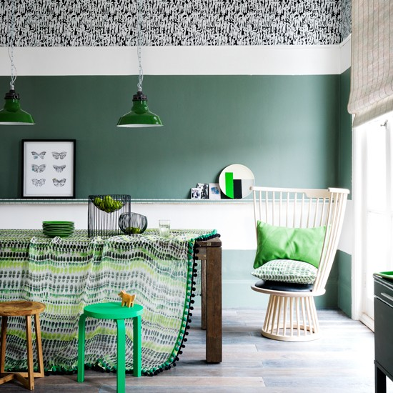 Emerald Green And White Dining Room Dining Room