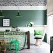 Emerald green and white dining room