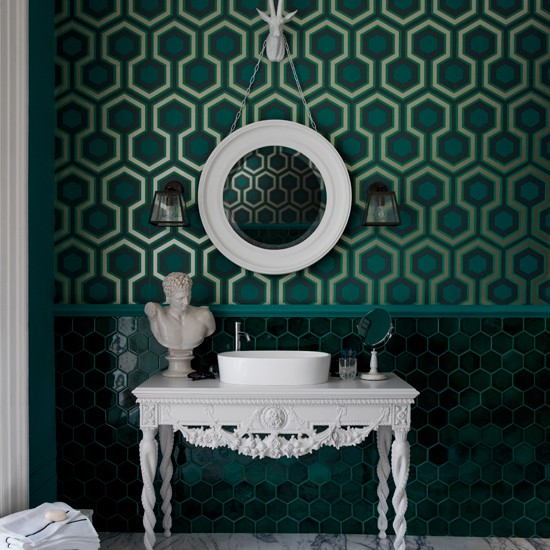 Green bathroom with geometric wallpaper | Bathroom decorating ideas | Livingetc | Housetohome.co.uk