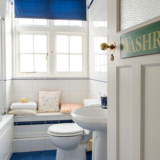 Blue And White Coastal Bathroom Bathroom Decorating Idea Style At