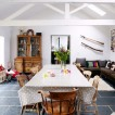 Cosy dining room with painted beams