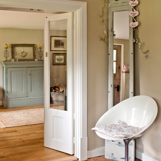 New Home Interior Design Country Hallway: Neutral Country Hallway With Modern Chair