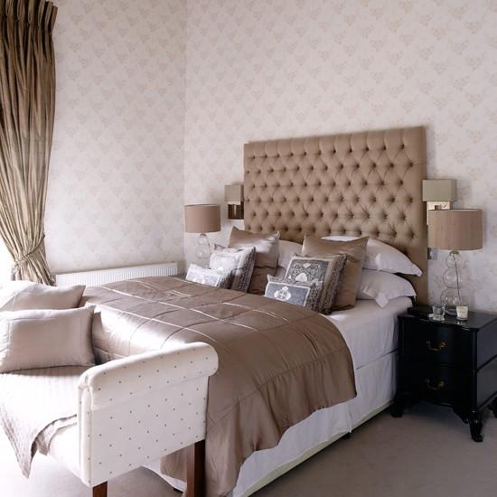 glamorous hotel style bedroom with oversized headboard bedroom