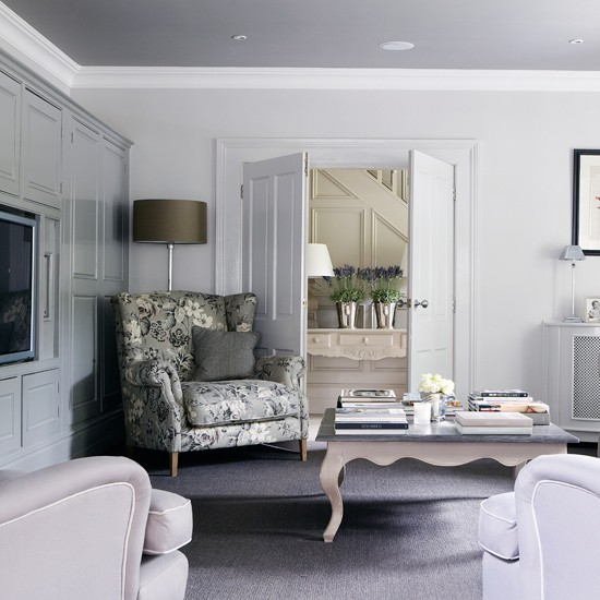 Traditional Grey And Lilac Living Room