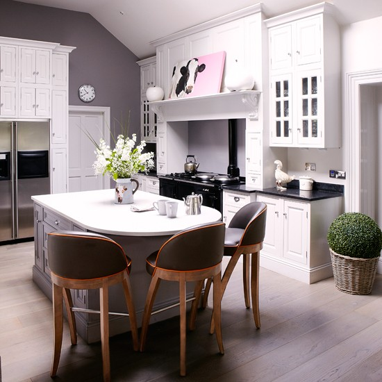 modern country kitchen diner in white and grey kitchen