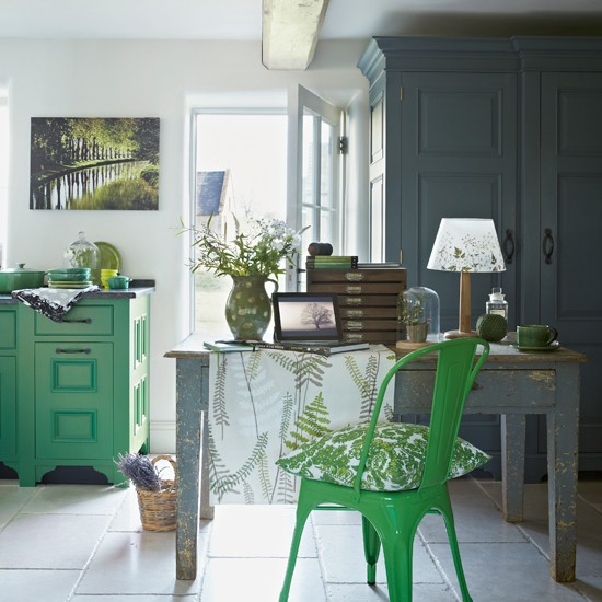 Green And Grey Kitchen Diner With Leaf Print Fabrics