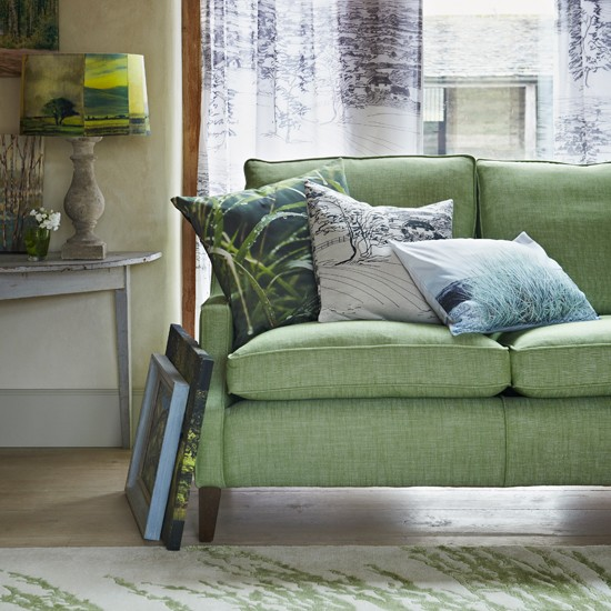 Green living room with woodland print fabrics living room decorating for Woodlands fabric and interiors