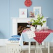 Red and blue polka dot dining room