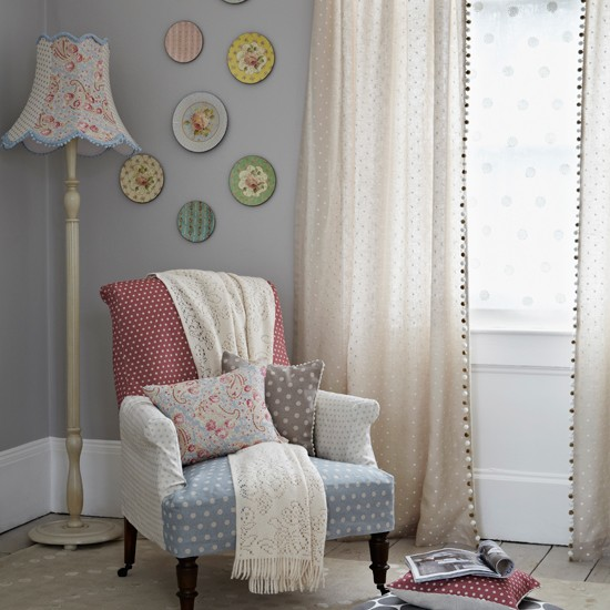Patchwork living room in pale blue and red | Living room ...