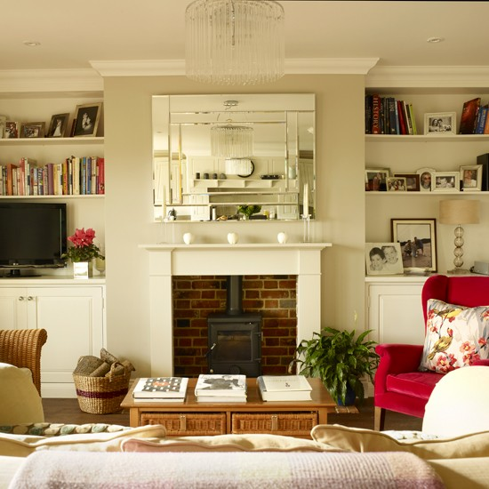 Living room alcove shelving shelving ideas housetohome for Living room shelving ideas