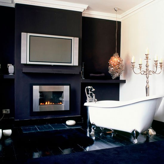 Dramatic monochrome bathroom hotel style bathrooms ideas for B q bathroom accessories