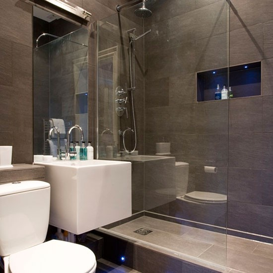 Modern grey bathroom hotel style bathrooms ideas for Great small bathroom designs