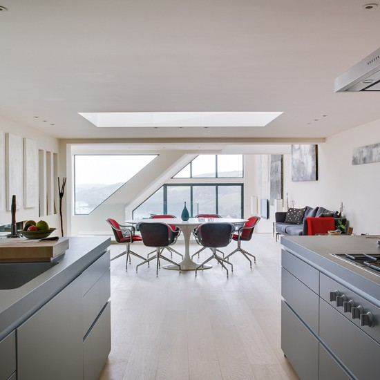 Grey And Red Open Plan Dining Room