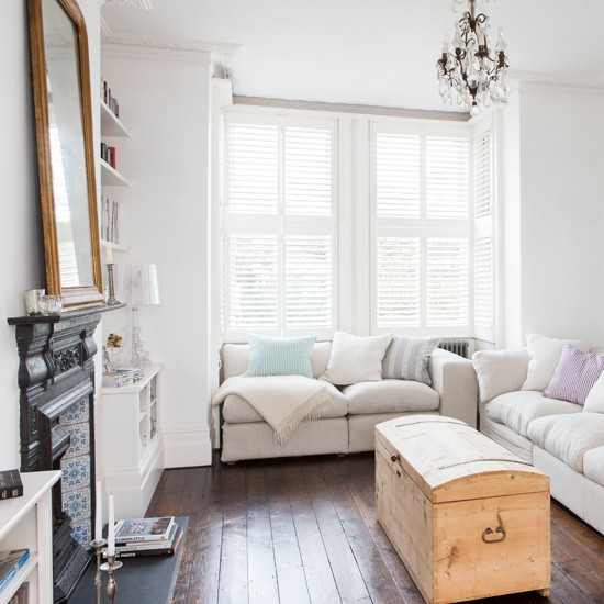 White Living Room With Shutters Living Room Decorating