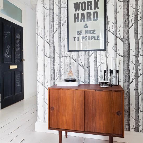 White hallway with motif wallpaper hallway decoration for Hallway wallpaper