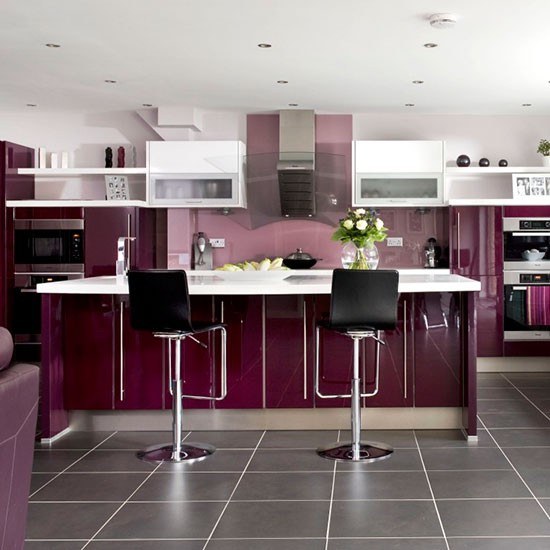 Glossy mulberry kitchen colouful kitchen ideas for Coloured kitchen units uk